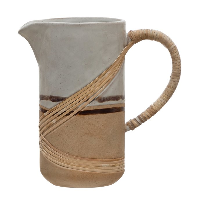 36 oz. Stoneware Pitcher with Rattan Wrapped Handle, Reactive Glaze, White & Brown (Each One Will Vary) Thumbnail