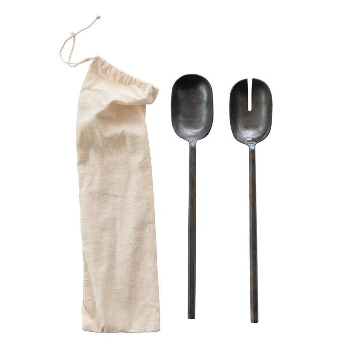 Hand-Forged Metal Salad Servers in Drawstring Bag, Pewter Finish, Set of 2 Thumbnail