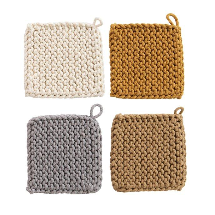 Square Cotton Crocheted Potholder, 4 Colors Thumbnail