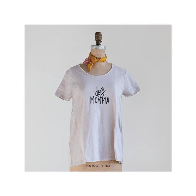 "Cotton Screen Printed T-Shirt ""Dog Momma"", Grey & Black, Large Thumbnail"
