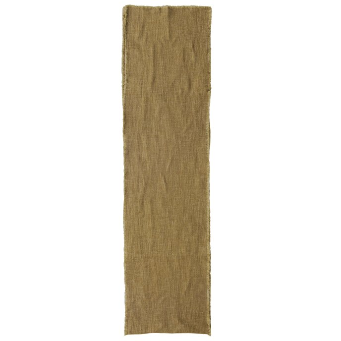 Linen Blend Table Runner with Frayed Edges, Olive Color Thumbnail
