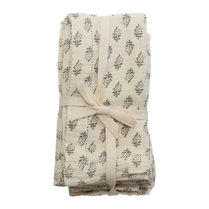 Cotton Napkins with Printed Floral Pattern, Charcoal & Cream Color, Set of 4 Thumbnail