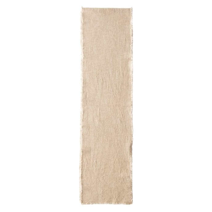 Linen Blend Table Runner with Frayed Edges, Natural Thumbnail
