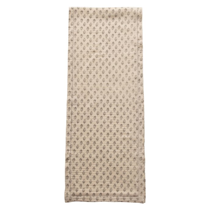 Cotton Table Runner with Printed Floral Pattern, Grey & Cream Color Thumbnail