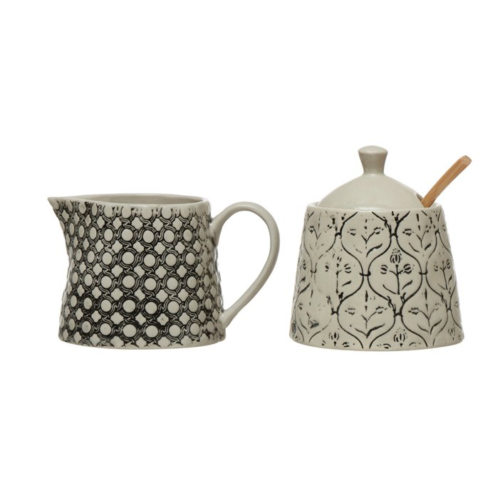 """6 oz. Hand-Stamped Stoneware Creamer & 3-1/2"""" Round x 4""""H 8 oz. Sugar Jar with Lid, Wood Spoon & Embossed Pattern, Black & Cream Color, Set of 3 Thumbnail"""