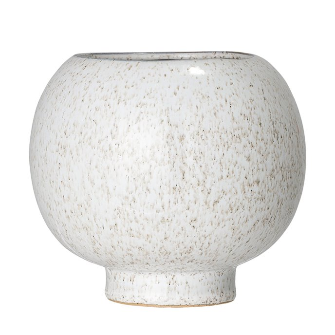 Ball Shaped White Speckled Stoneware Flower Pot Thumbnail