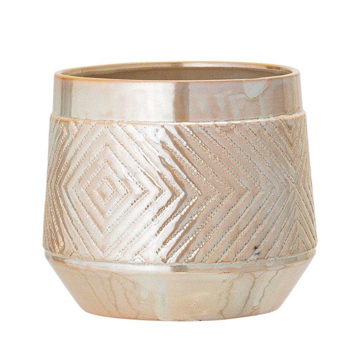 Large Pearlized Stoneware Flower Pot Thumbnail