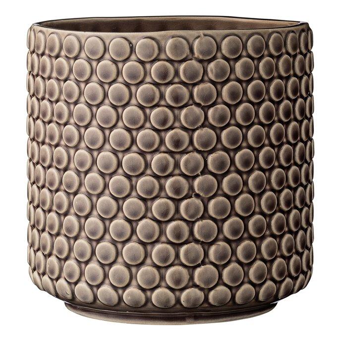 Round Brown Polka Dot Stoneware Flower Pot Thumbnail