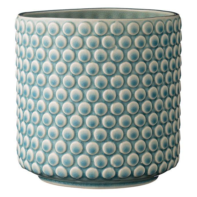 Sky Blue & Cream Stoneware Pot with Crackle Finish Thumbnail
