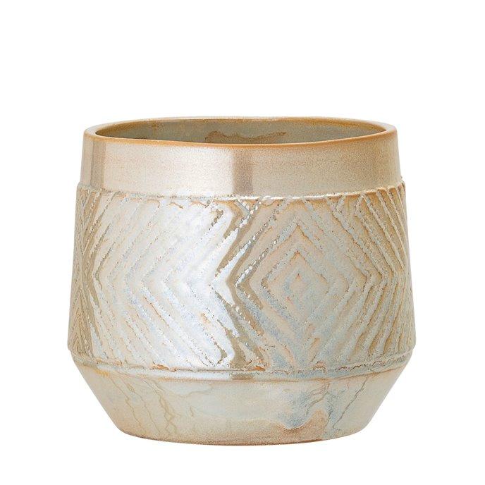 Small Pearlized Beige Stoneware Planter Thumbnail