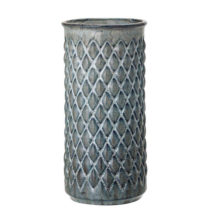 Blue Embossed Diamond Stoneware Vase Thumbnail