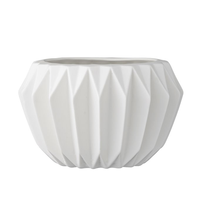 Round White Fluted Ceramic Flower Pot Thumbnail