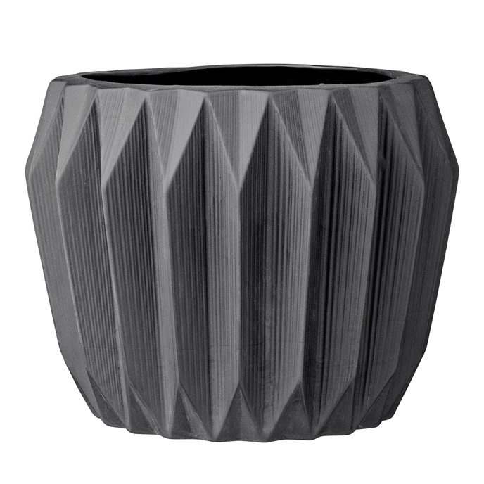 Round Grey Fluted Ceramic Flower Pot Thumbnail