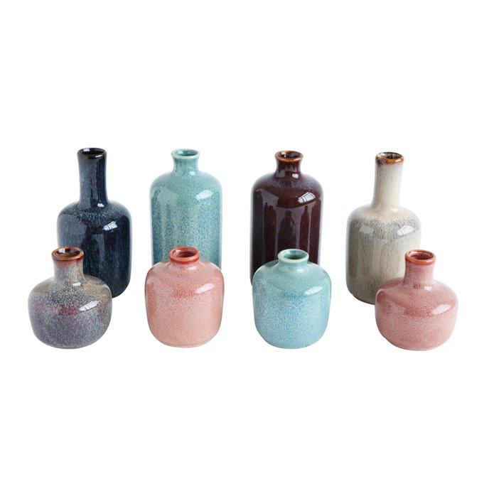Set of 8 Multicolor Stoneware Vases Thumbnail