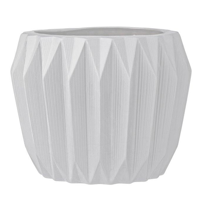 White Fluted Stoneware Flower Pot Thumbnail
