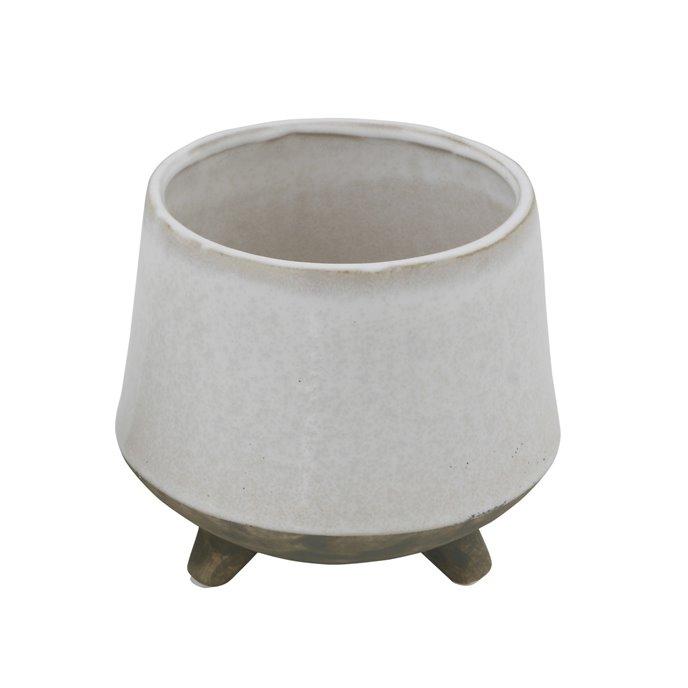 Round White Stoneware Planter with Feet Thumbnail