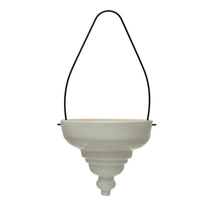 Terra-cotta Hanging Planter with Metal Hanger, Matte White Thumbnail