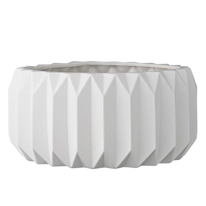 Shallow White Fluted Ceramic Flower Pot Thumbnail