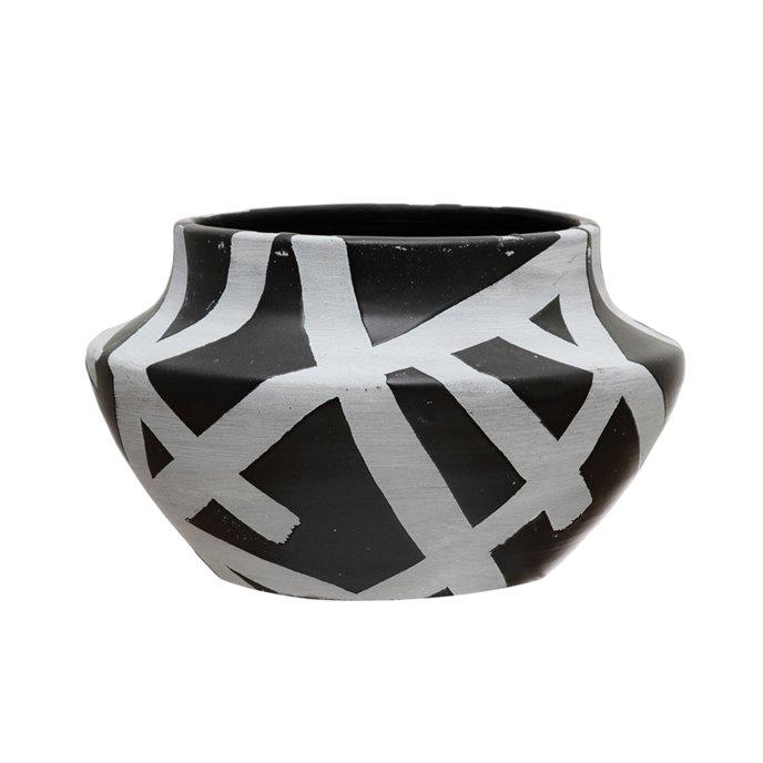 "Terra-cotta Planter with Design, Black & White (Holds 5"" Pot) Thumbnail"