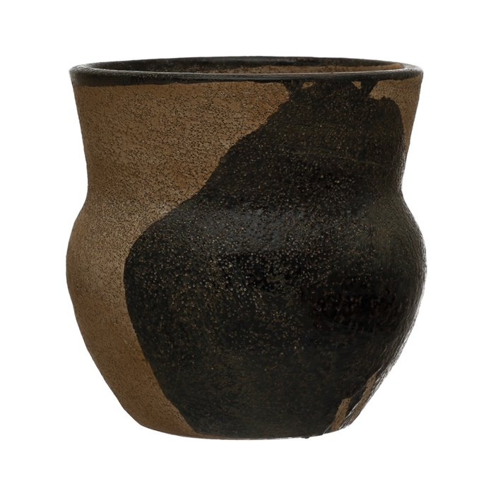 "Terra-cotta Planter with Design, Brown & Black (Holds 4"" Pot) Thumbnail"