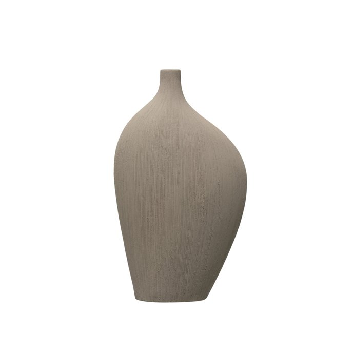 "12""H Flat Abstract Stoneware Vase with Rough Texture Thumbnail"
