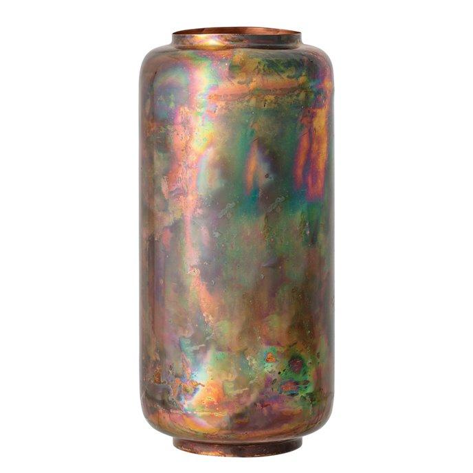 Oxidized Copper Finish Metal Vase Thumbnail
