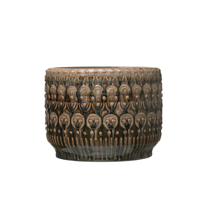 "8"" Round Embossed Stoneware Planter with Reactive Glaze Finish (Holds 7"" pot/Each one will vary) Thumbnail"