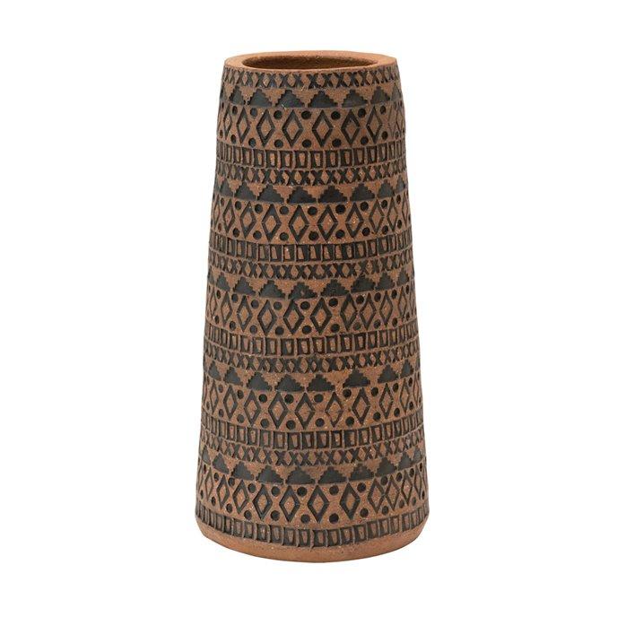 Handmade Debossed Terra-cotta Vase, Terra-cotta Color & Black Thumbnail