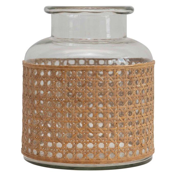 "8""H Glass Vase with Decorative Cane Sleeve Thumbnail"