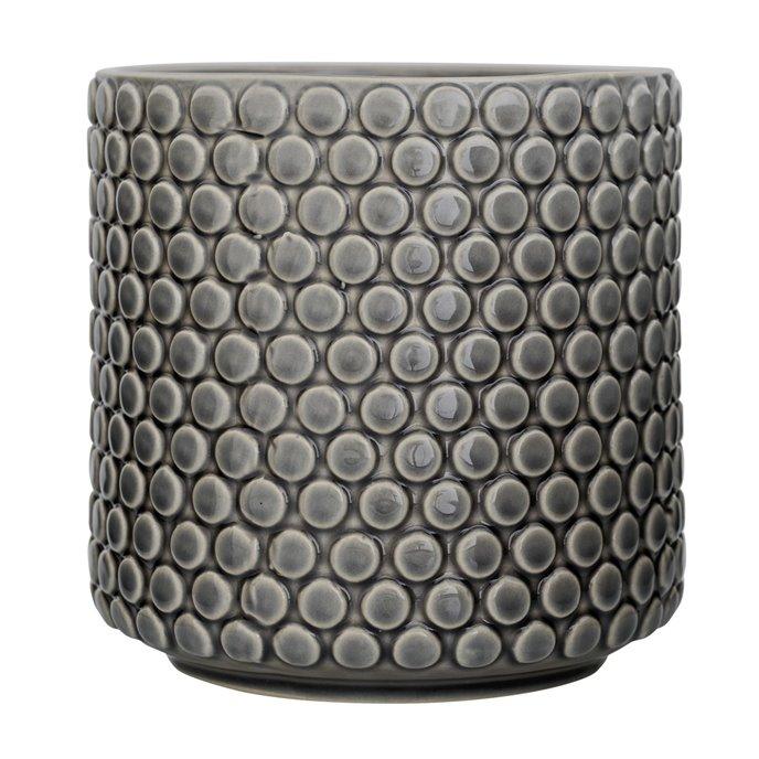 Grey Stoneware Flower Pot with Polka Dots Thumbnail