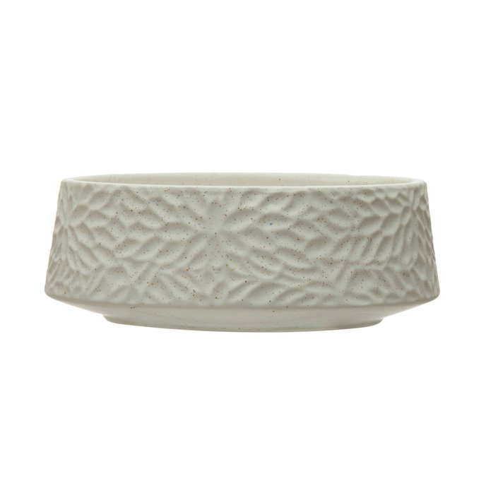 Stoneware Planter Bowl with Embossed Floral Design, Speckled Matte White Thumbnail