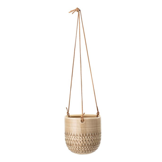Large Hanging Stoneware Flower Pot with Leather Strings Thumbnail