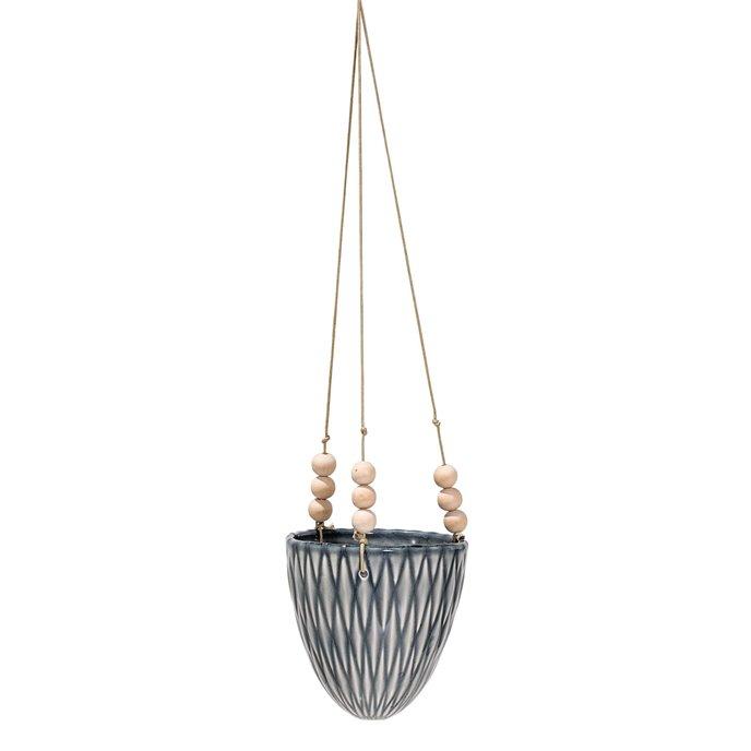Grey Stoneware Hanging Flower Pot with Wood Beads Thumbnail