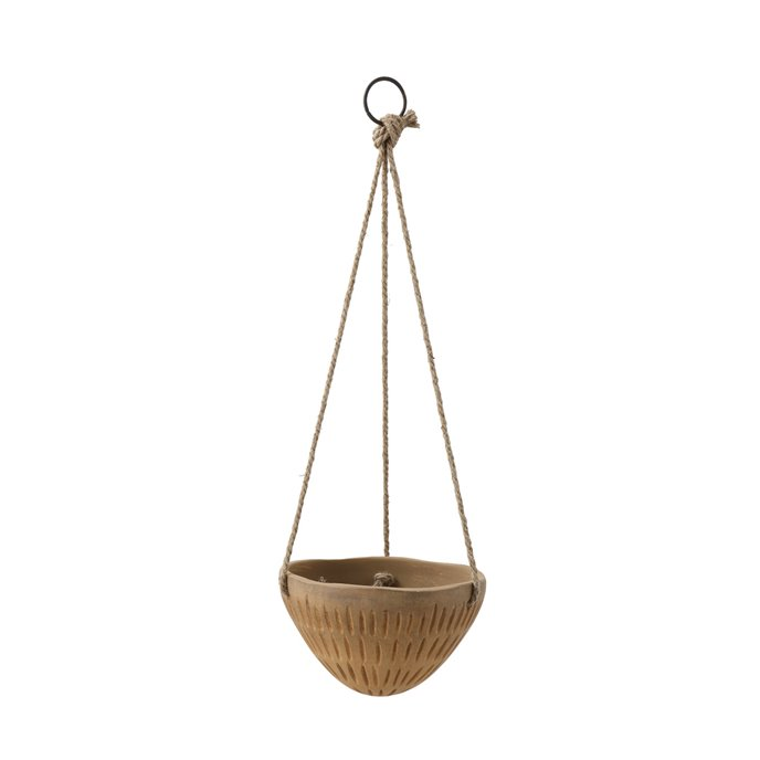 Round Hanging Terracotta Flower Pot with Jute Ropes Thumbnail