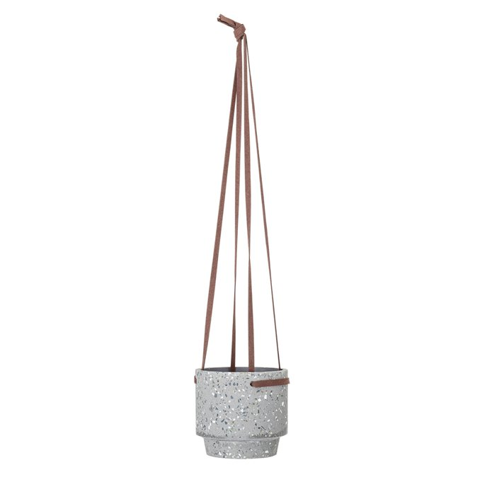 Grey Cement Hanging Pot with Leather Straps Thumbnail