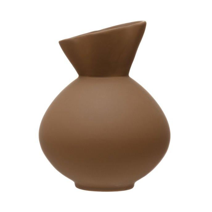 Stoneware Vase with Latex Glaze, Brown Thumbnail
