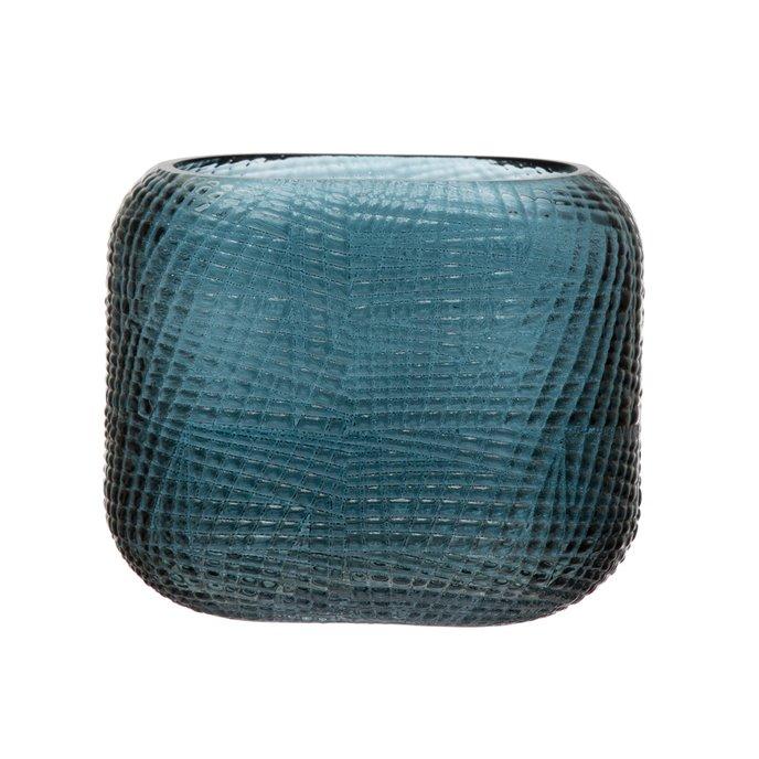 Molded Glass Rectangular Vase with Pattern, Blue Thumbnail