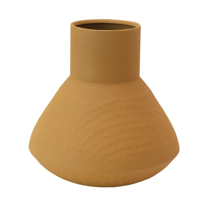 Textured Metal Vase, Mustard Color Thumbnail