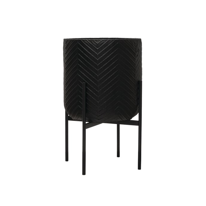 Black Metal Planter with Stand, Set of 2 Thumbnail