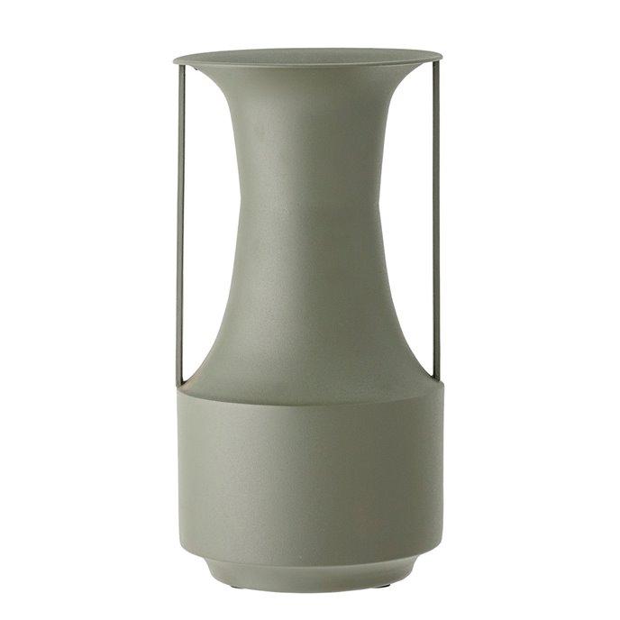 Matte Green Finish Textured Metal Vase w/ Handles Thumbnail