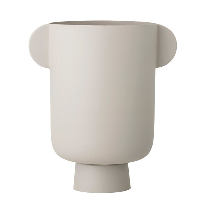 Matte Beige Metal Vase w/ Handles Thumbnail