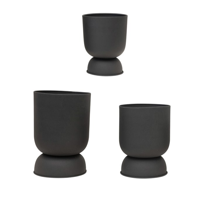 """Textured Metal Footed Planters, Black Finish, Set of 3 (Holds 9"""", 8"""" & 7"""" Pots) Thumbnail"""
