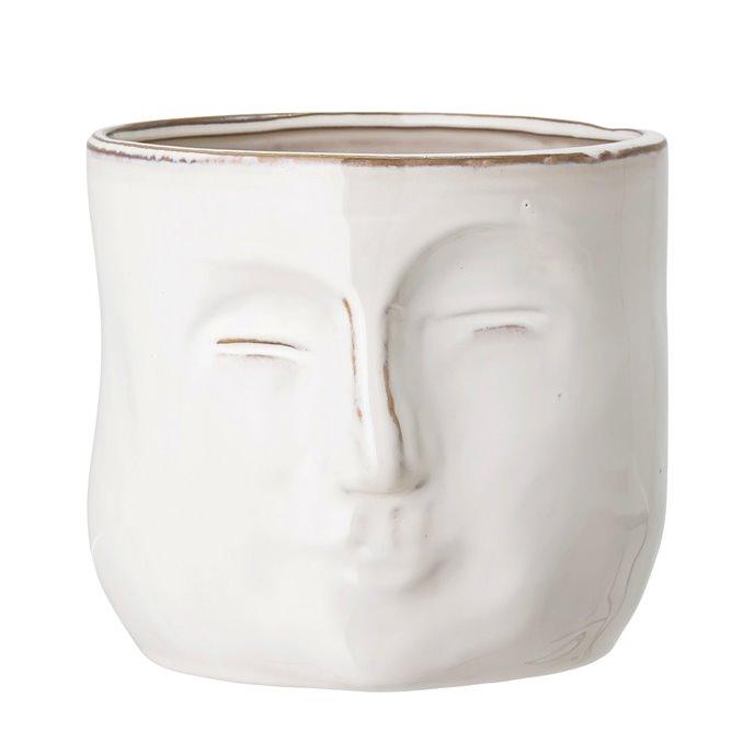 White Stoneware Planter with Face Thumbnail