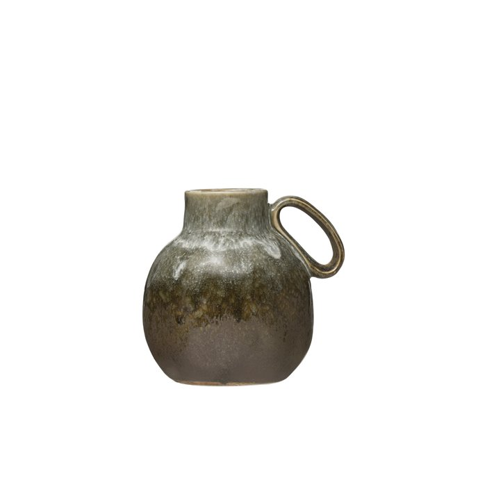 """6""""H Stoneware Vase with Reactive Glaze Finish & Handle (Each one will vary) Thumbnail"""