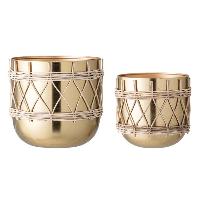 """7""""H & 9""""H Gold Electroplated Metal Planters with Woven Rattan Sleeve (Set of 2 Sizes/Hold 7"""" & 9"""" pots) Thumbnail"""