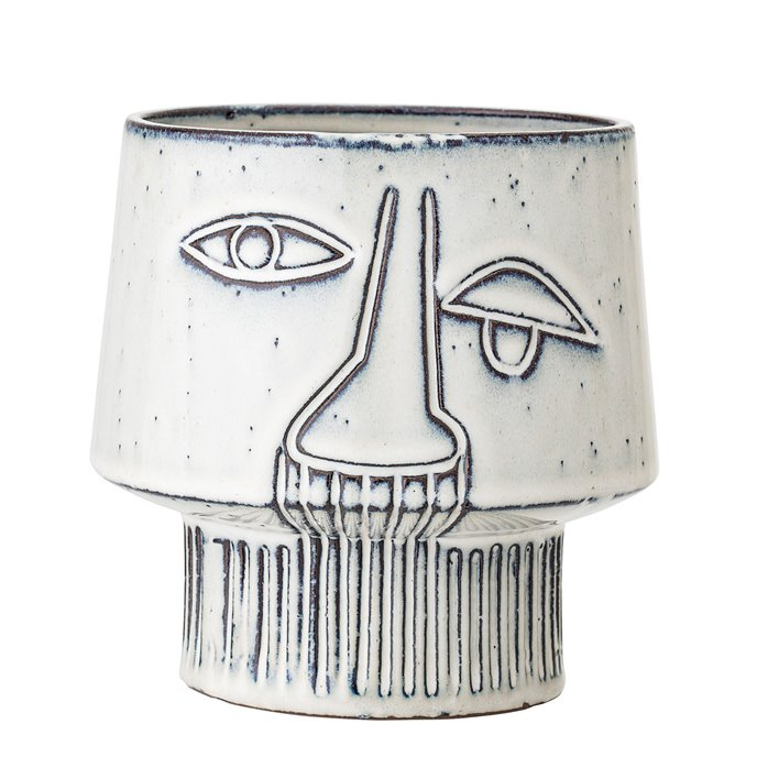 White Stoneware Vase with Abstract Face Design & Reactive Glaze Finish (Each one will vary) Thumbnail