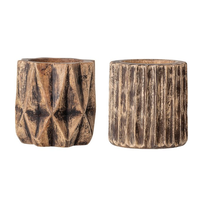 "5"" Hand-Carved Mango Wood Planter with Charred Finish (Set of 2 Styles/Holds 4"" pot) Thumbnail"