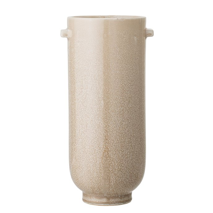 Brown Stoneware Vase with Handles & Cream Reactive Glaze Finish (Each one will vary) Thumbnail