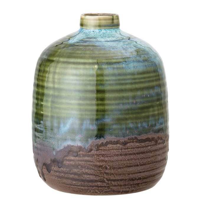 Green Stoneware Vase with Blue and Brown Accents & Reactive Glaze Finish (Each one will vary) Thumbnail