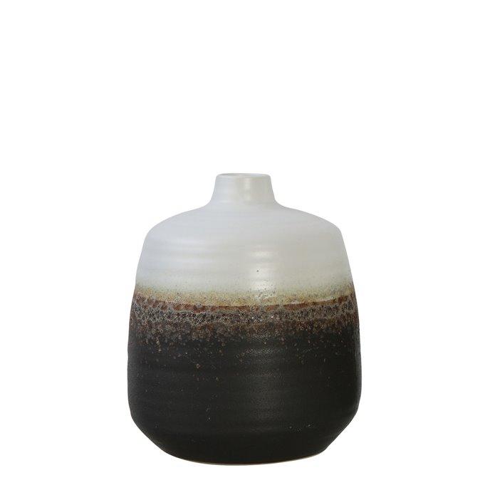 Black & White Ceramic Vase with Brown Reactive Glaze Accent Thumbnail